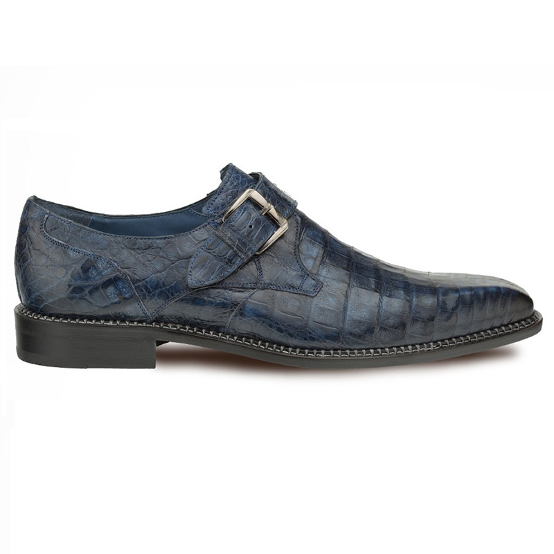 Mezlan Magnus Crocodile Monk Strap Shoes Blue Image