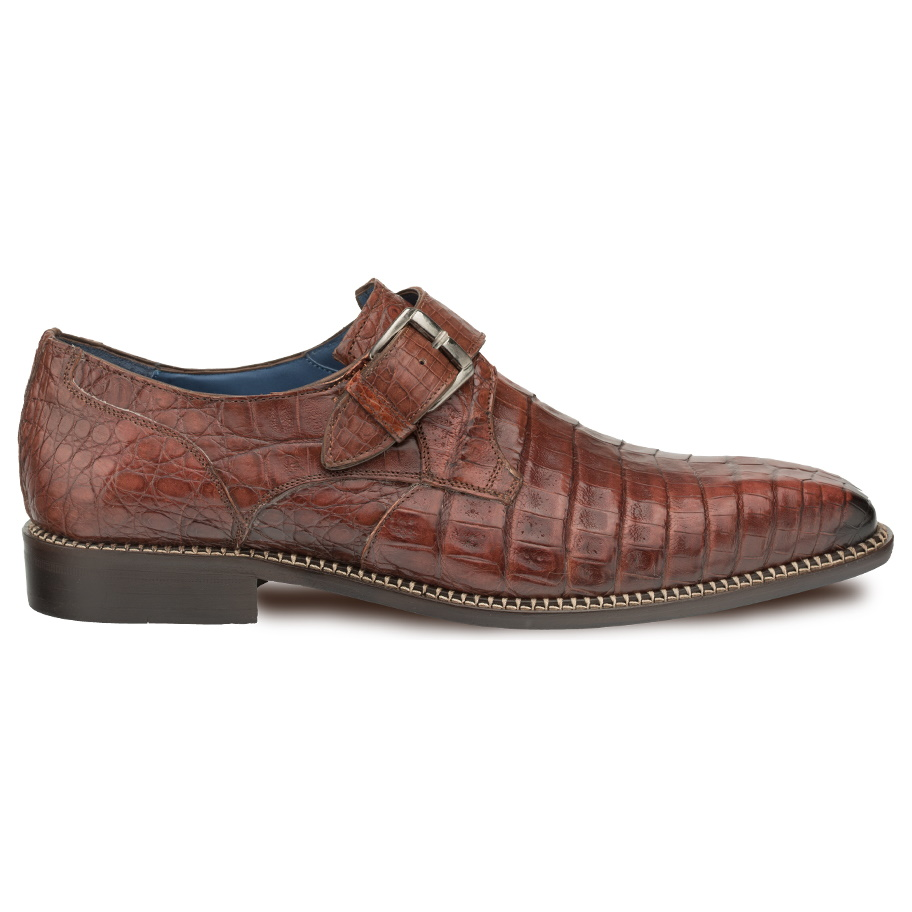 Mezlan Magnus Crocodile Monk Strap Shoes Sport Image
