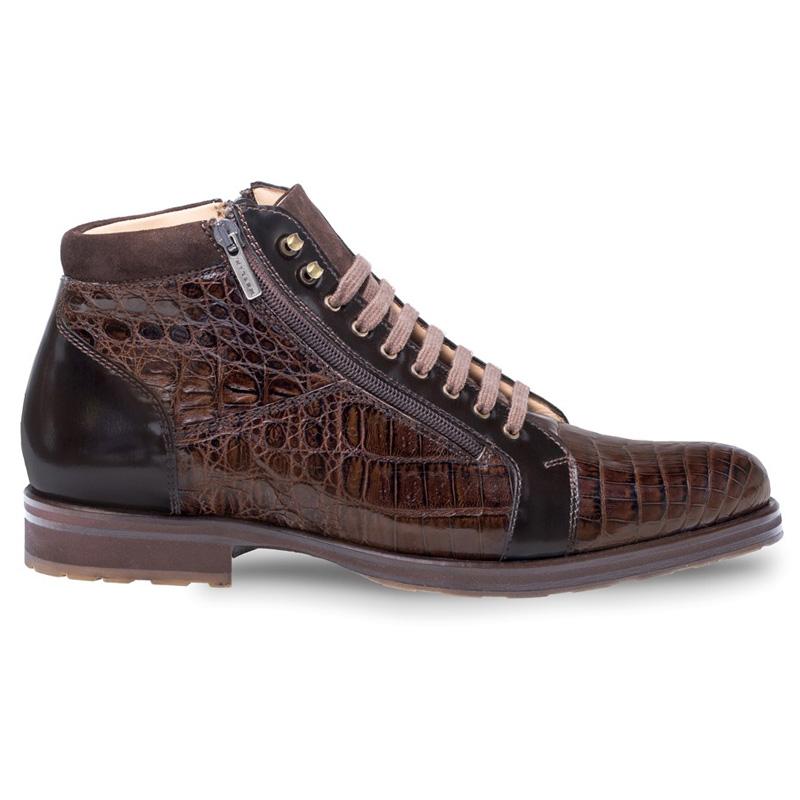 Mezlan Manson Crocodile Calfskin Suede Boots Brown Image
