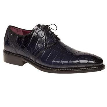Mezlan Marini Alligator Derby Shoes Blue Image