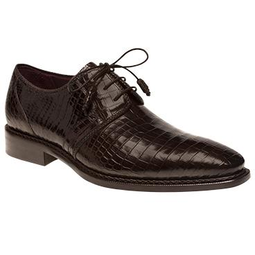 Mezlan Marini Alligator Derby Shoes Brown Image