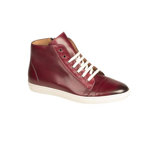 Mezlan Marsala Calfskin High Top Sneakers Burgundy Image