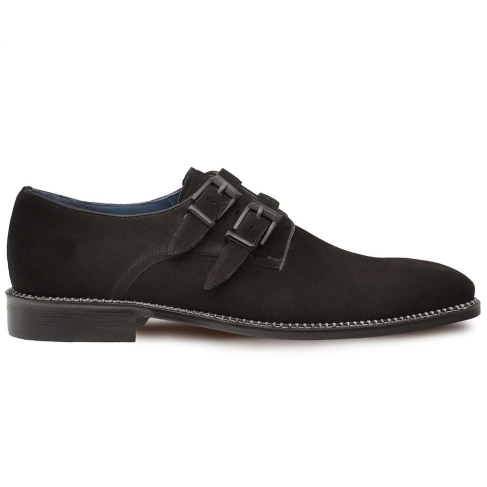 Mezlan Meier Suede Double Monkstrap Dress Shoes Black Image