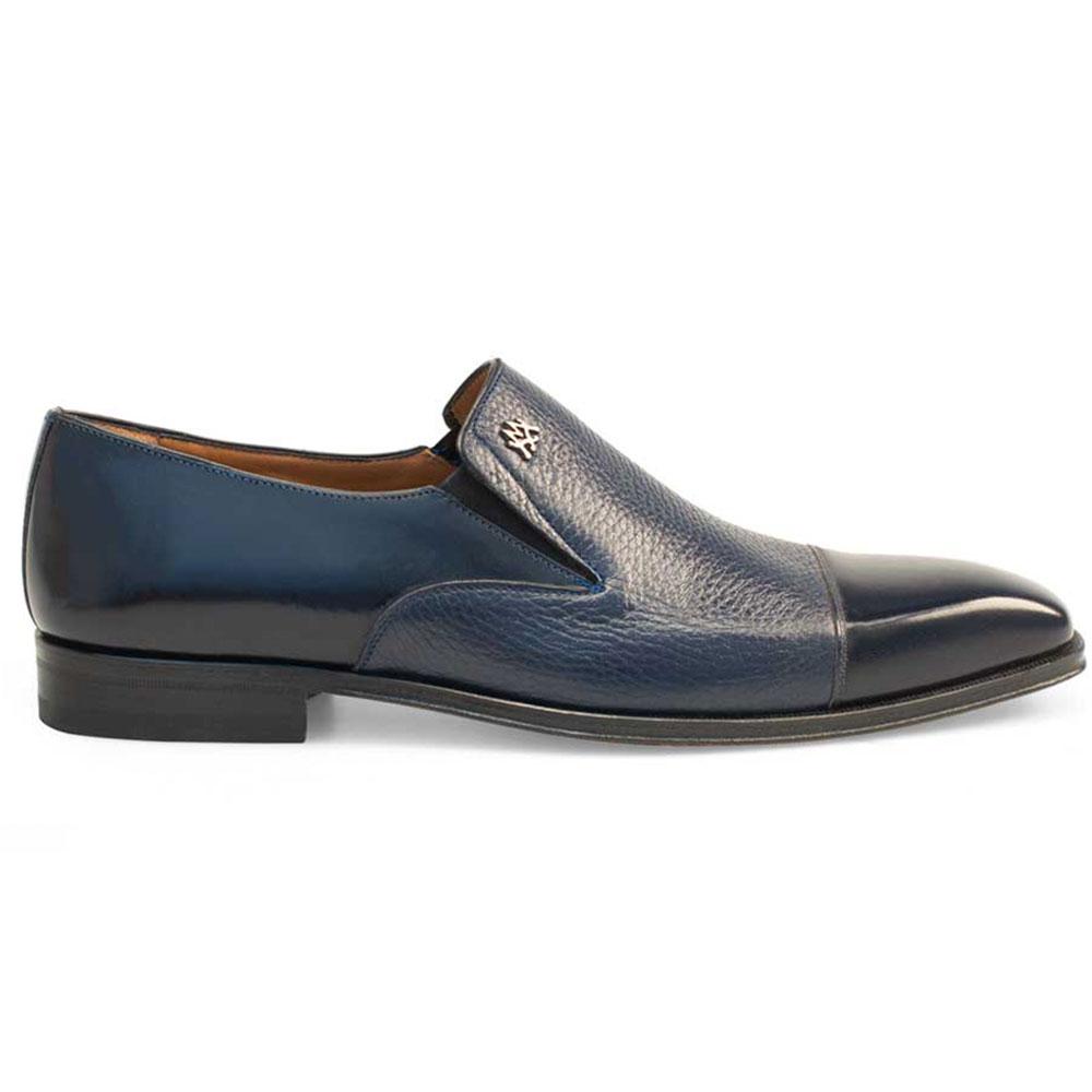 Mezlan Milani Deerskin Cap Toe Loafers Blue Image