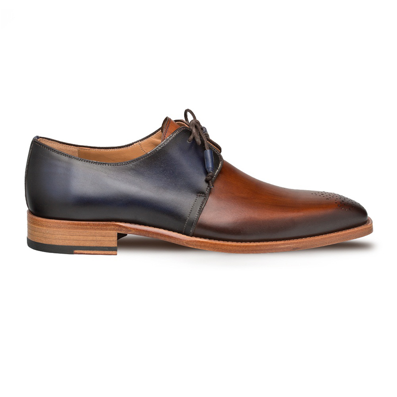 Mezlan Montes Calfskin Shoes Cognac/Blue Image