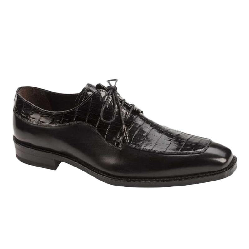 Mezlan Montreal Crocodile Calfskin Shoes Black Image