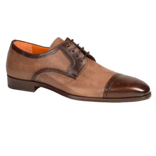 Mezlan Moseley Cap Toe Shoes Dark Brown / Taupe Image