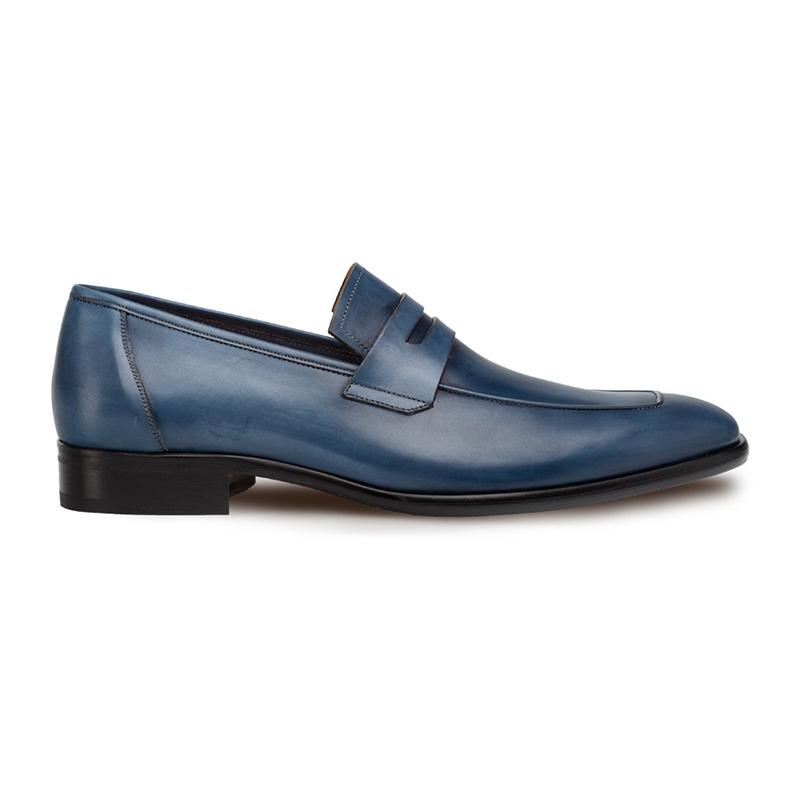 Mezlan Newport Slip On Penny Loafer Medium Blue Image