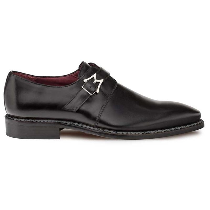 Mezlan Paden Calfskin Monkstrap Shoes Black Image