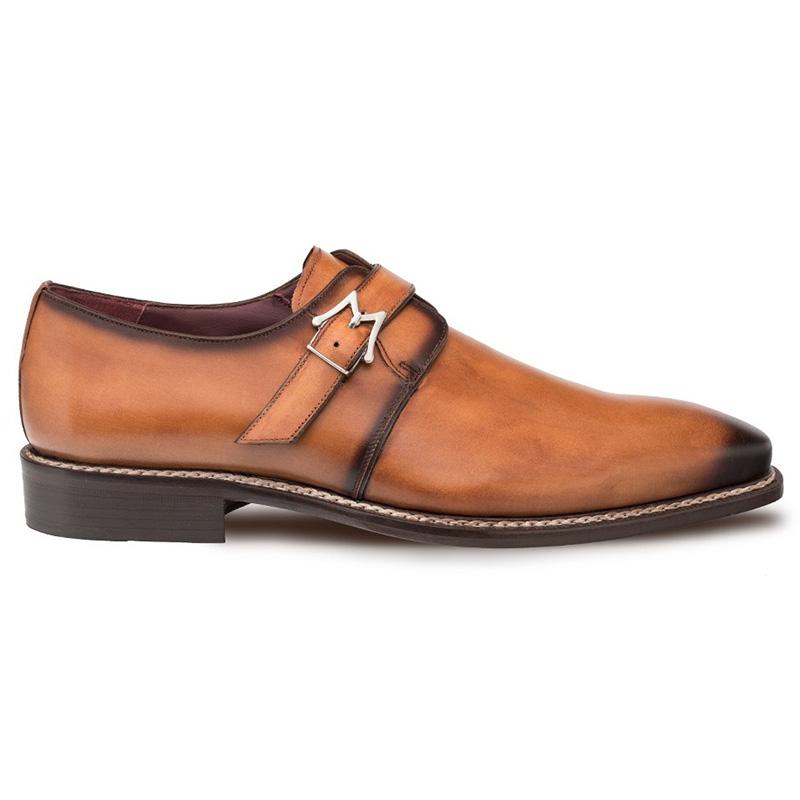 Mezlan Paden Calfskin Monkstrap Shoes Cognac Image