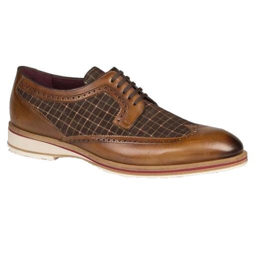 Mezlan Paulov Printed Suede & Calfskin Wingtip Shoes Cognac / Brown Image