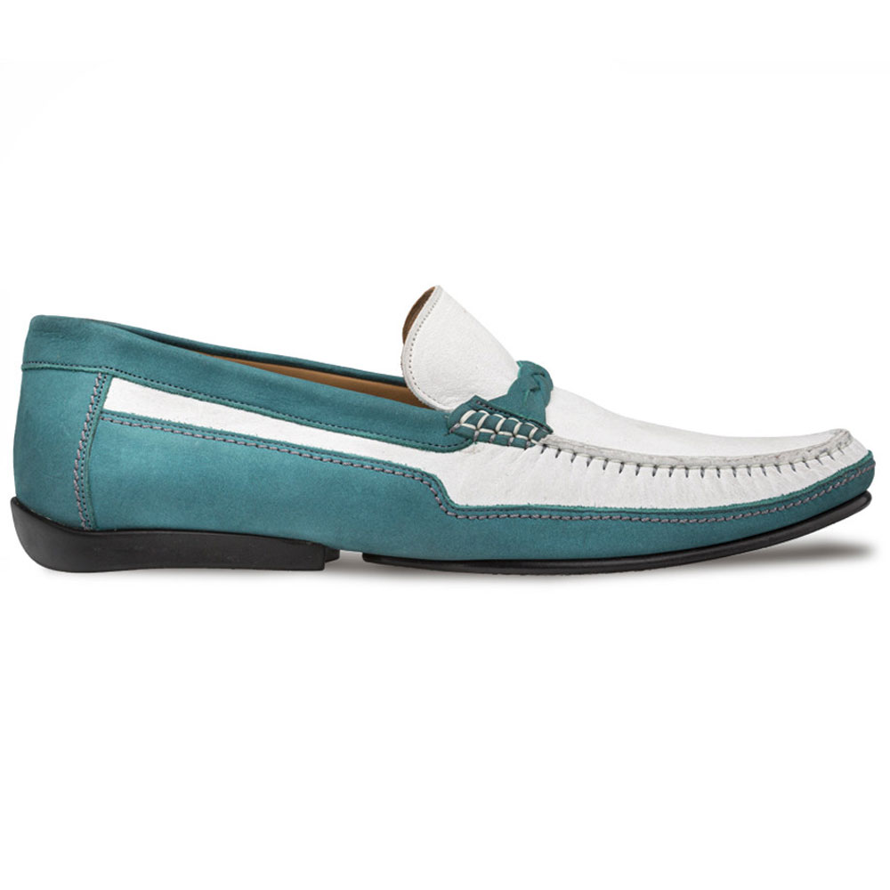 Mezlan R601 Suede Driving Shoes Green/Bone Image