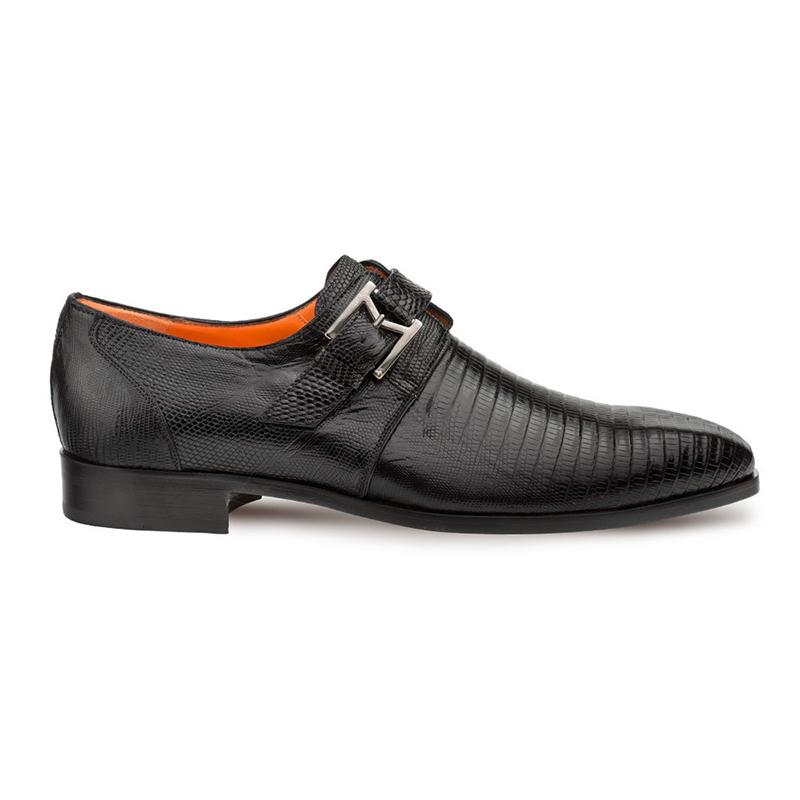 Mezlan Richelieu Lizard Monkstrap Shoes Black Image