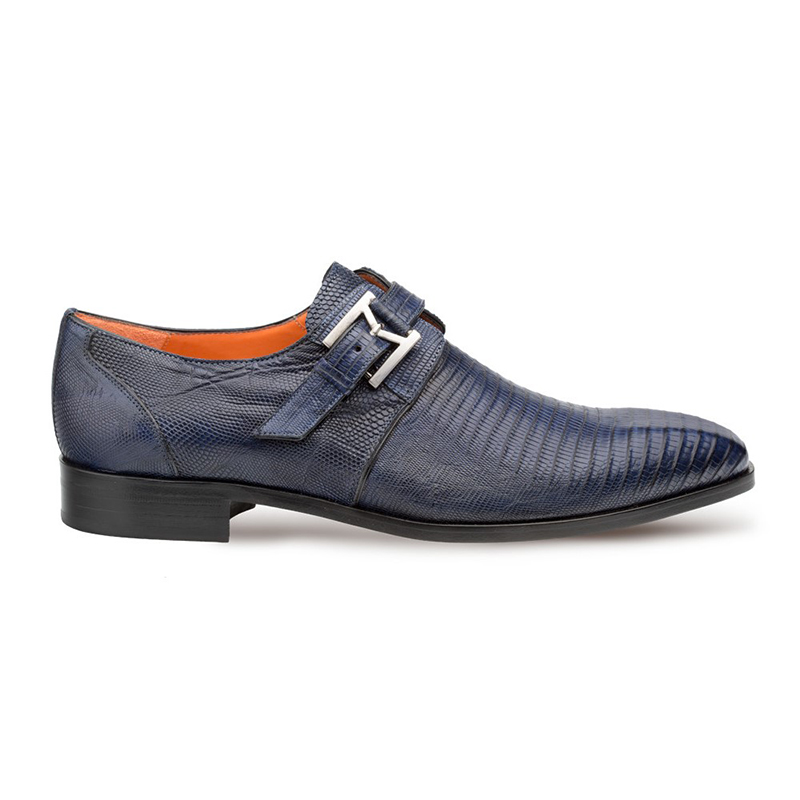 Mezlan Richelieu Lizard Monkstrap Shoes Blue Image