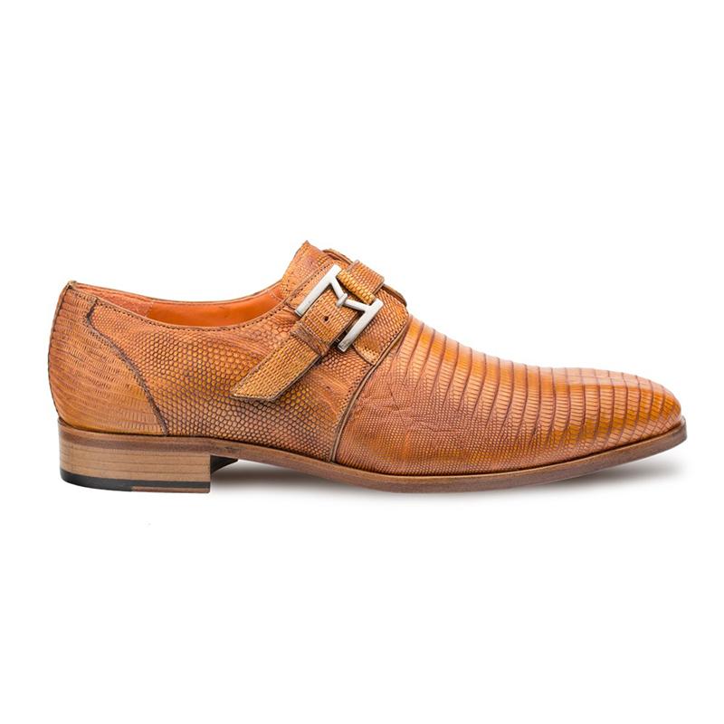 Mezlan Richelieu Lizard Monkstrap Shoes Camel Image