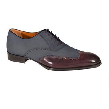 Mezlan Ronda Spectator Oxford Wingtip Shoes Dark Burgundy / Gray Image