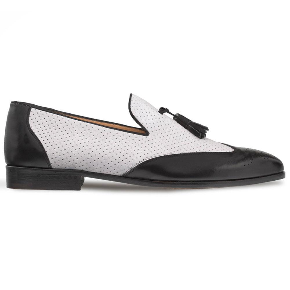 Mezlan S104 Nubuck Leather Tassel Loafers Black/Grey Image