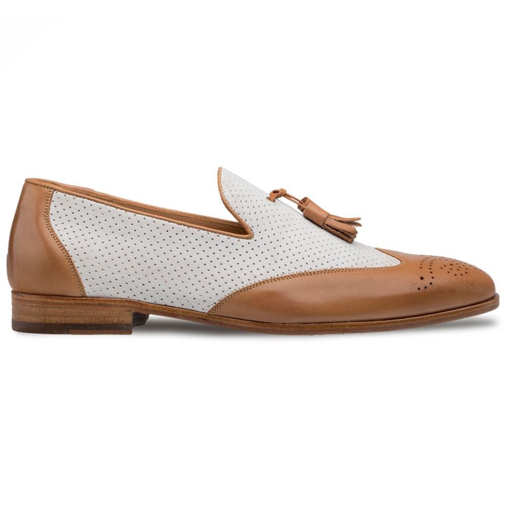 Mezlan S104 Nubuck Leather Tassel Loafers Camel/Bone Image