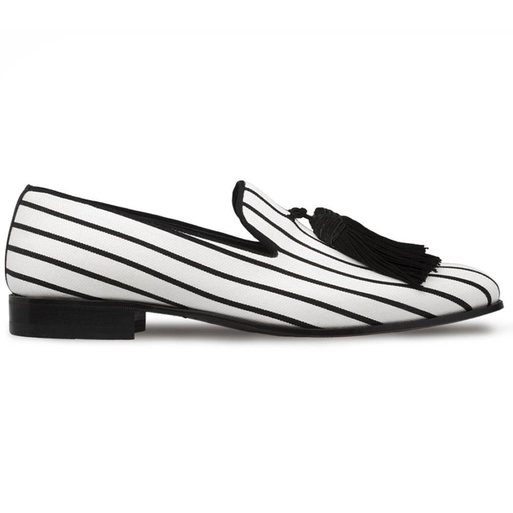 Mezlan S119 Fabric Tassel Loafers Black/White Image