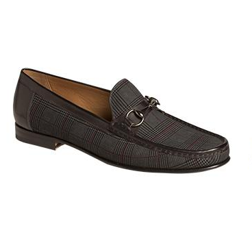 Mezlan Salinas Plaid Suede Bit Loafers Gray / Black Image