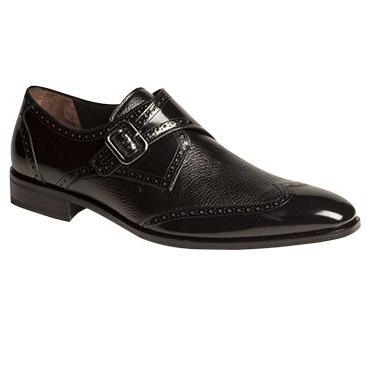Mezlan Senator Deerskin & Calfskin Wingtip Monk Strap Shoes Black Image