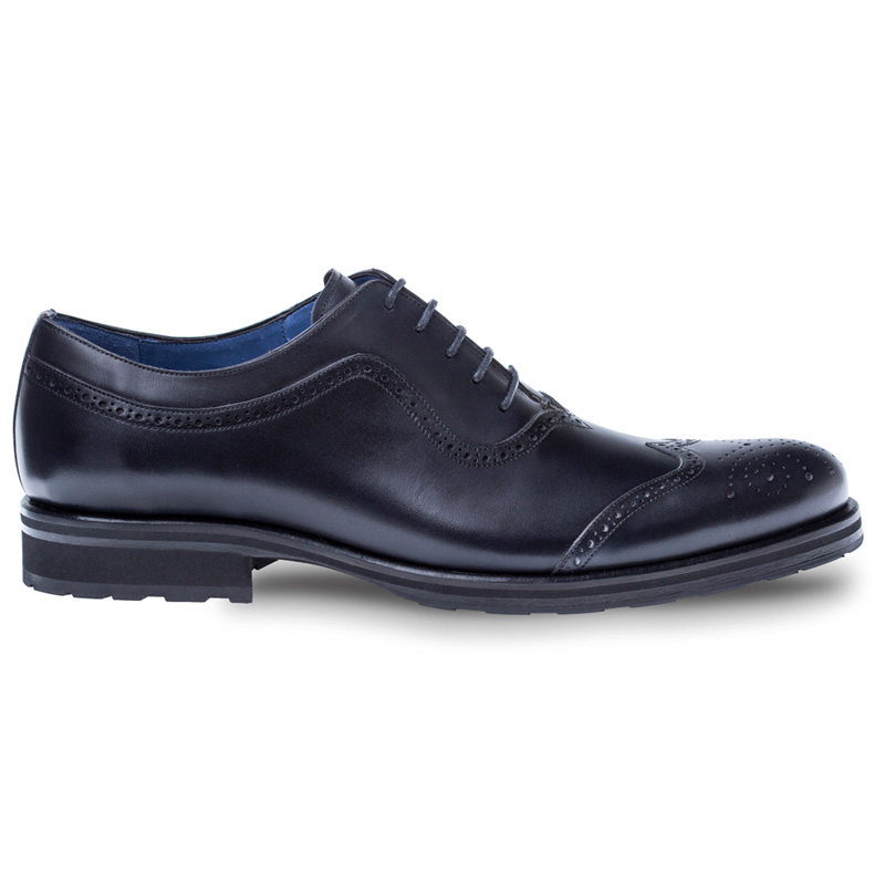 Mezlan Sharif Calfskin Oxford Shoes Black Image