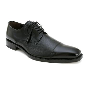 Mezlan Soka Calfskin & Deerskin Cap Toe Shoes Black Image