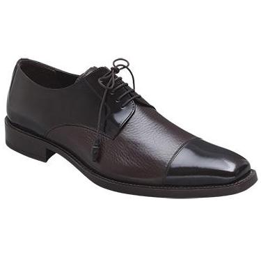 Mezlan Soka Calfskin & Deerskin Cap Toe Shoes Brown Image
