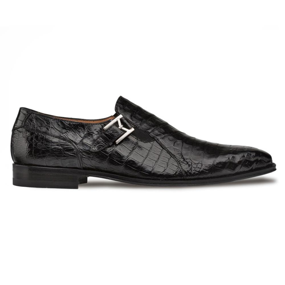 Mezlan SX102 Crocodile Monk Strap Shoes Black Image