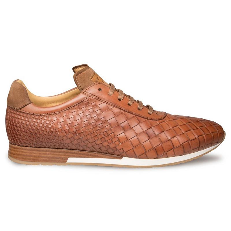 Mezlan Toronado Calfskin Suede Woven Sneakers Cognac Image