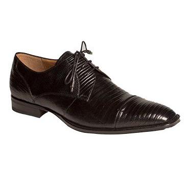 794c9632d Mezlan Valdes Lizard Cap Toe Derby Shoes Black | MensDesignerShoe.com