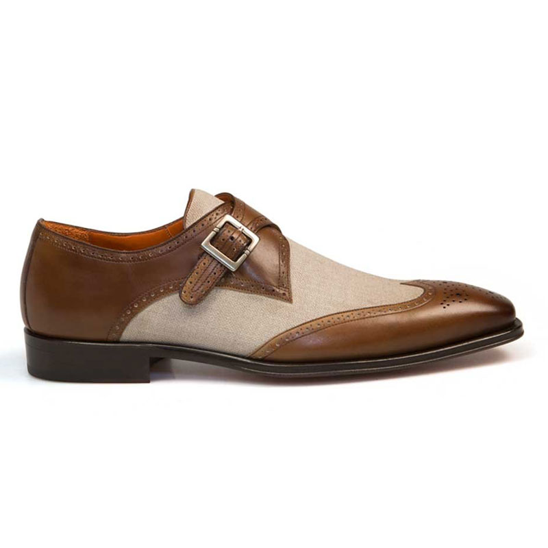 Mezlan Wien Monk Strap Shoes Tan / Bone Image