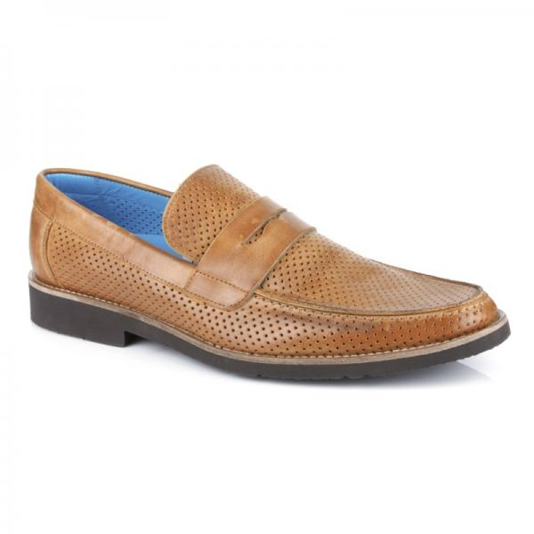 Michael Toschi Cabo Summer Perforated Loafers Saddle (Cognac) Image