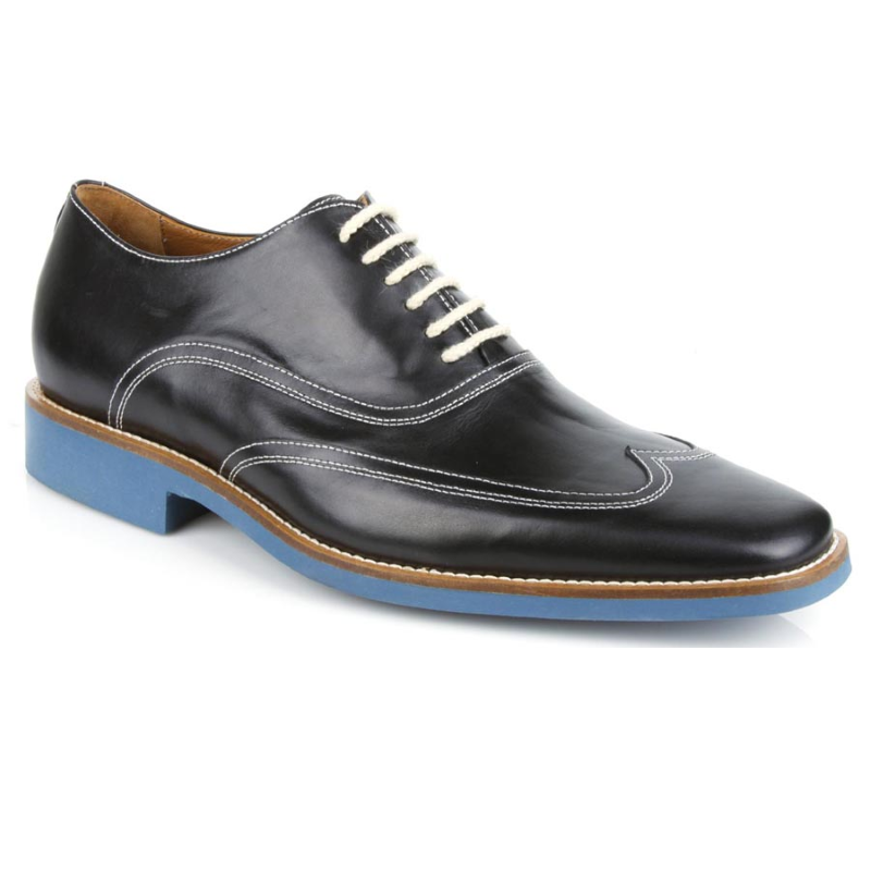 Michael Toschi Luciano Wingtip Brogues Black / Blue Sole Image