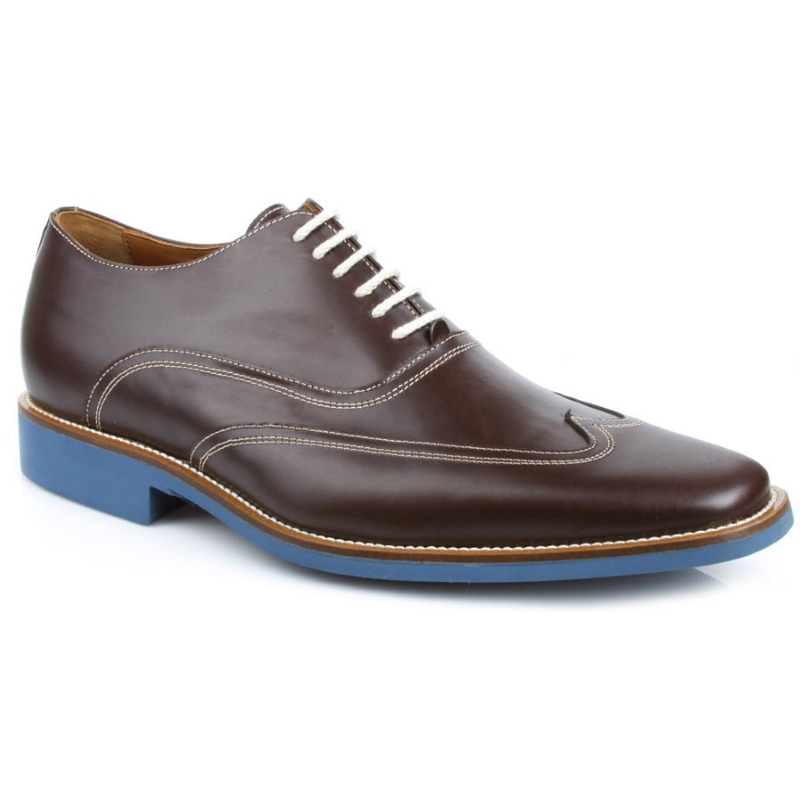 Michael Toschi Luciano Wingtip Brogues Chocolate / Blue Sole Image