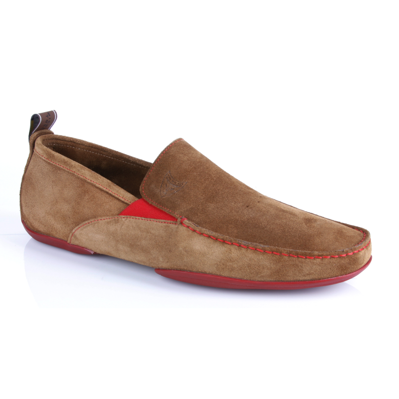 Michael Toschi Onda SE Suede Driving Shoes Cinnamon / Red Sole Image