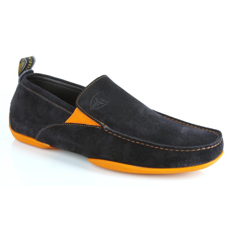 Michael Toschi Onda SE Suede Driving Shoes Navy / Orange Sole Image
