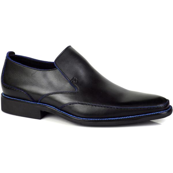 Michael Toschi Caan Loafers Black / Blue Stitch Image
