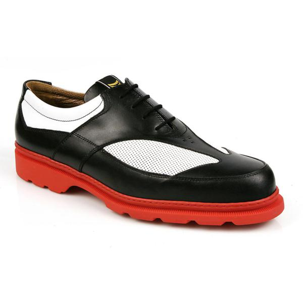 Michael Toschi G3 Golf Shoes Black & White/Red Sole Image