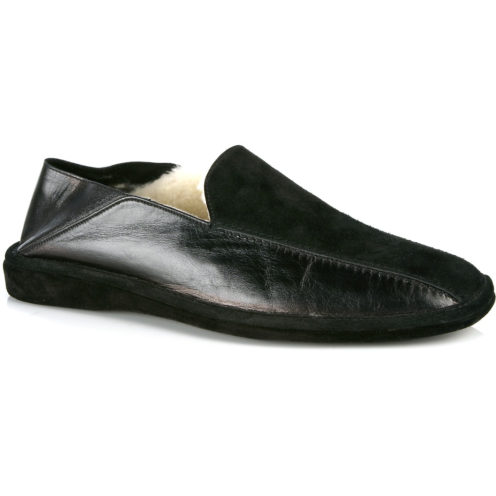 Michael Toschi Grotto Shearling Slippers Black Image
