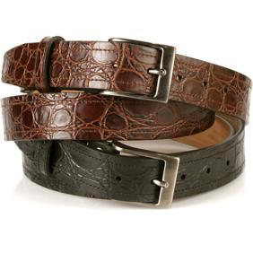 Michael Toschi Onda Croc Embossed Leather Belt Image