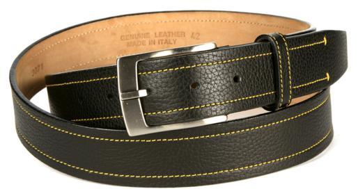 Michael Toschi Onda Calfskin Belt Black / Yellow Stitch Image