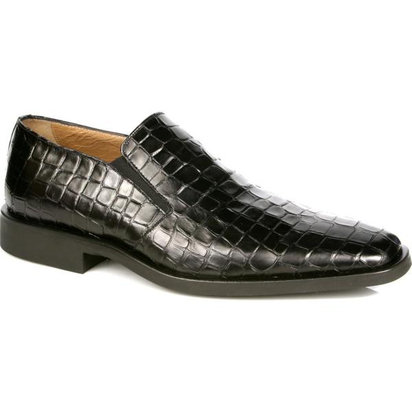 Michael Toschi Rocco Crocodile Print Loafers Black Image