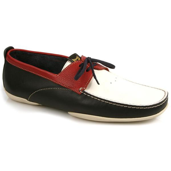 Michael Toschi Vela Boat Shoes Red/White/Blue Image