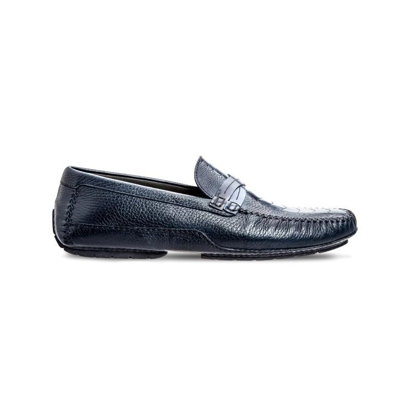 Moreschi 041960B Ostrich & Deerskin Driving Shoes Dark Blue (SPECIAL ORDER) Image