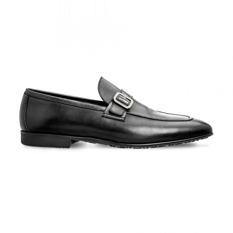 Moreschi 042174ENE Calfskin and Kangaroo Leather Loafers Black (SPECIAL ORDER) Image