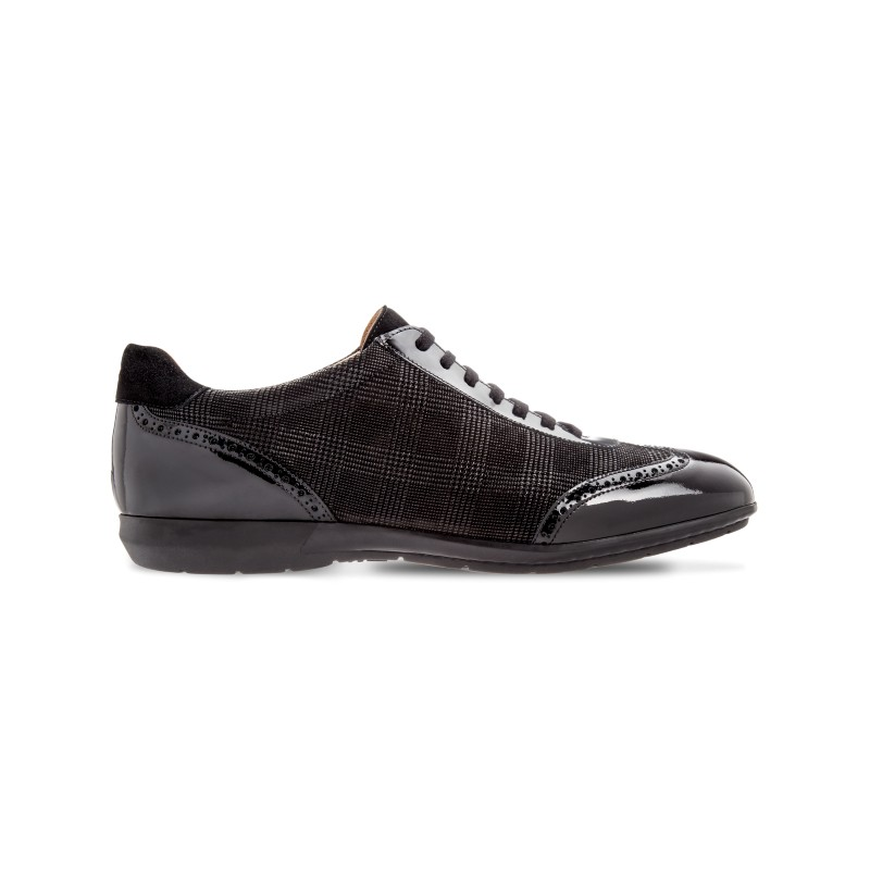 Moreschi 042323A Suede Leather sneakers with patent Leather Black (SPECIAL ORDER) Image