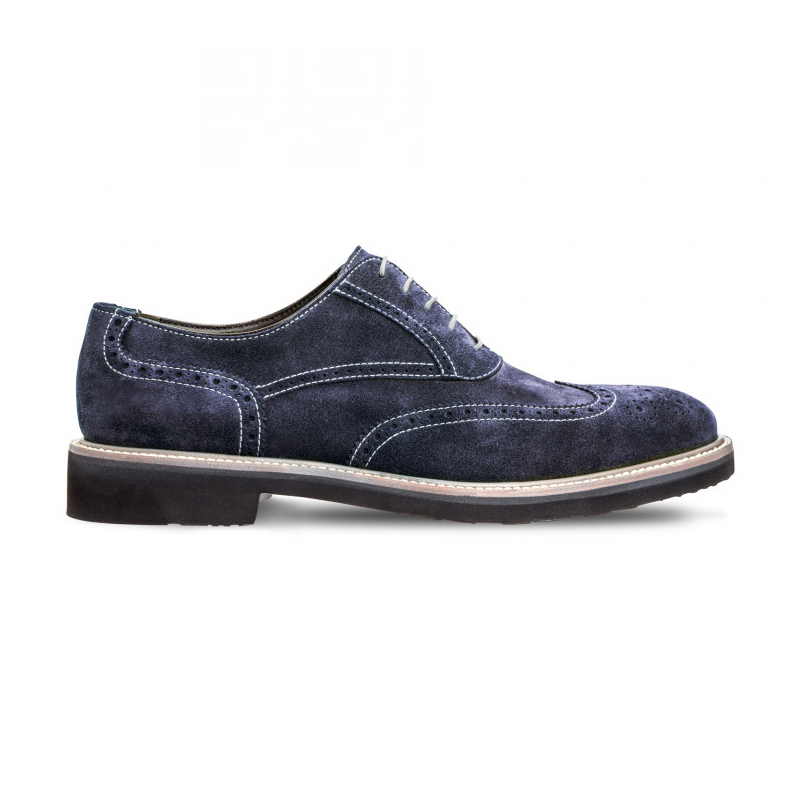 Moreschi 042382BBS Suede Leather Oxfords Blue (SPECIAL ORDER) Image