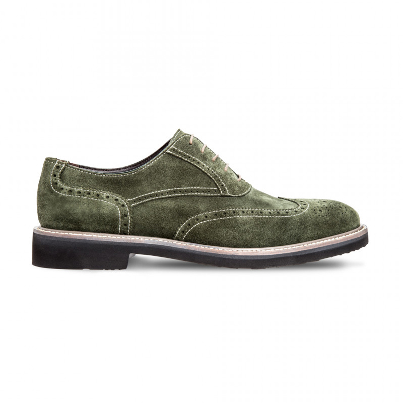 Moreschi 042382BVS Suede Leather Oxfords Green (SPECIAL ORDER) Image