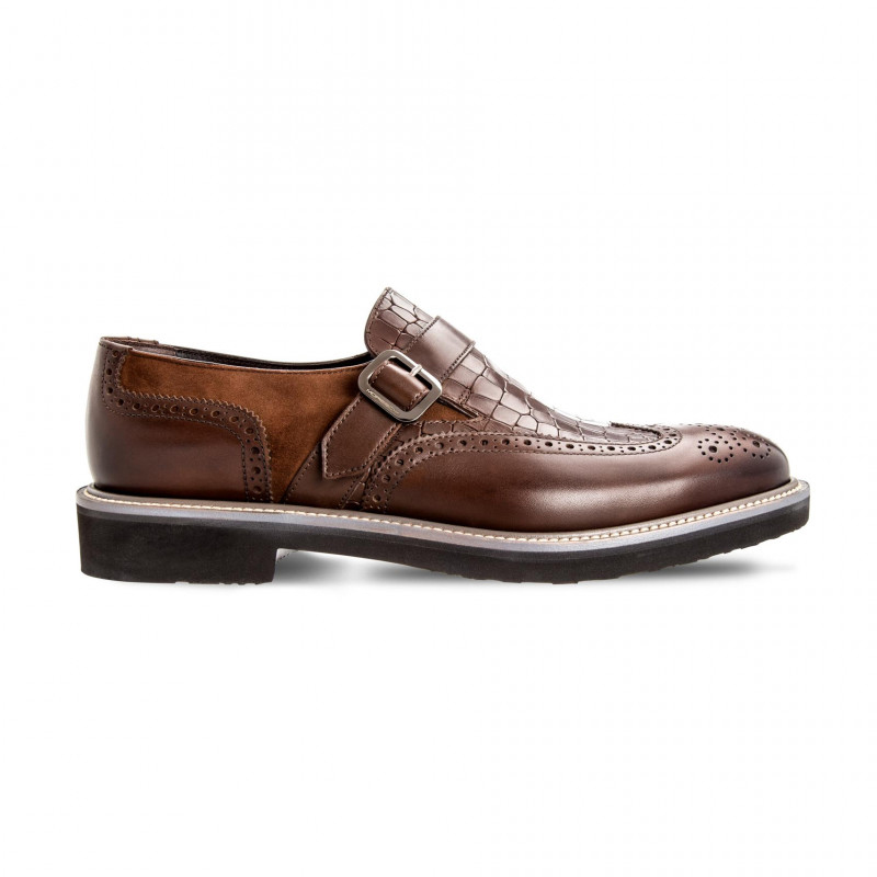 Moreschi 042498A Multi-Leather Monk Shoes Dark Brown (SPECIAL ORDER) Image